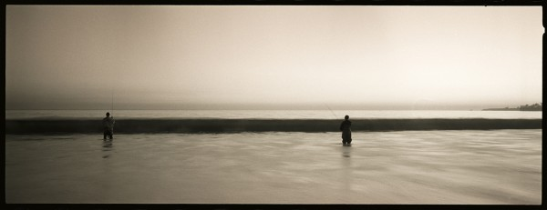 Two fishermen, Seabright Beach, Santa Cruz.
