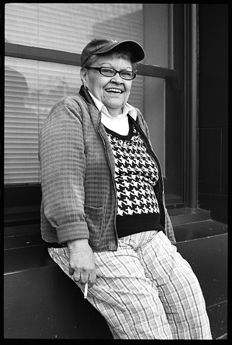 This is Dee, short for Delores. I met her Sunday afternoon in downtown Portland. She was smoking and waiting for her laundry and agreed to let me photograph her.