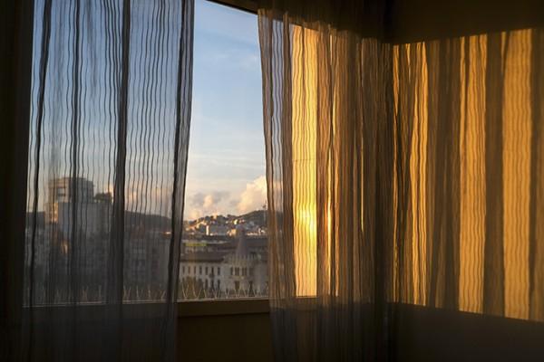 Hotel room window and curtain (nice light).