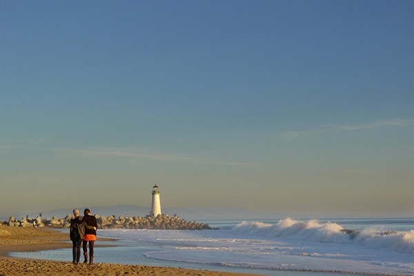 The Thanksgiving beach walk is a family tradition.