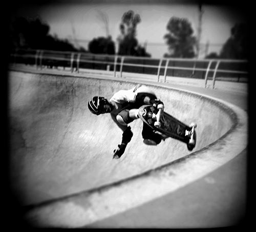I took a couple of Holgas to the skateboard park. I was thinking if nothing else, the photos would look different.