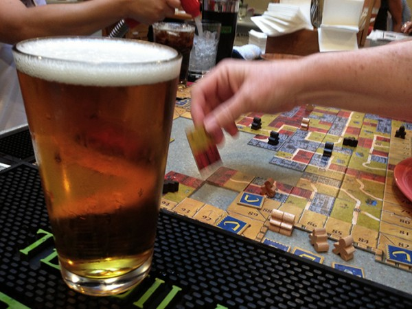 An intense game of Carcassonne: The Castle at the Palomar Taco Bar. Taken with an iPhone.