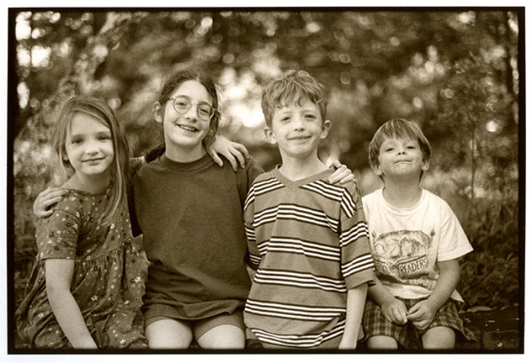 A new blog feature, mining the family archive on Friday. Here, the four cousins gathered at the farm, Summer 1996.