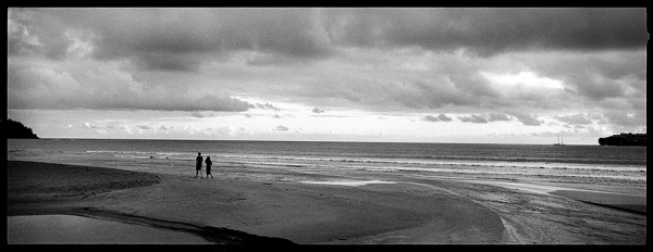 Evening, beach, sky, couple walking, all the cliches. Both photos snapped with an X-Pan II, panorama camera and the always reliable Kodak  Tri-X.