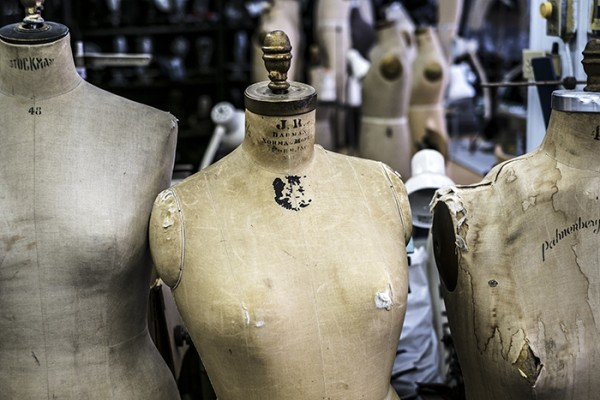 Mannequins in an old fashioned sewing machine shop, Little Italy.