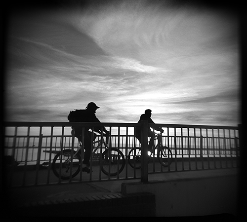"Here's another one from New Year""s Day at Rio Del Mar. This one shot with a Holga 120S and Ilford FP4 Plus black and white film."