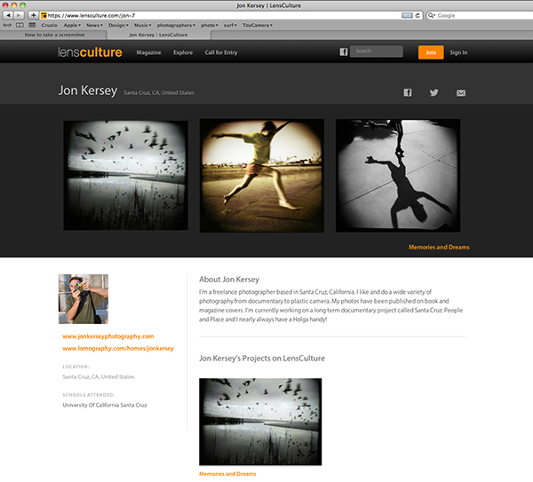 "I recently had a portfolio of Holga photographs published in Lensculture. Lensculture is an online magazine and gallery for contemporary photography. Check it out here: www.lensculture.com My photos are located under: Explore, ""alternative process"". Or you can go directly to: www.lensculture.com/jon-7"