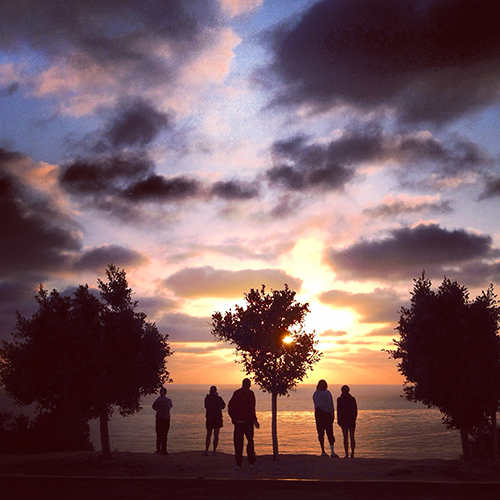 The end of a day of track and field, Point Loma, San Diego.