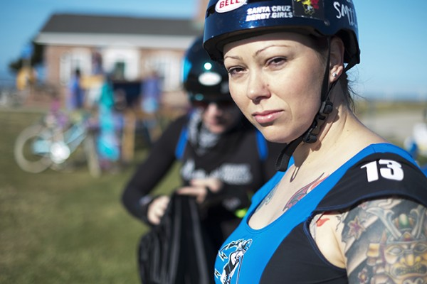 I was doing some volunteer photography for The Human Race this morning. The Santa Cruz Roller Girls led the way and got the event going with style. This is Chelsea Smile!