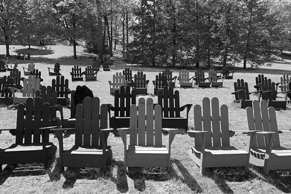 Adirondack chairs post graduation, Middlebury College.