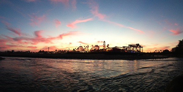 Last night at the river mouth. Taken with an iPhone 5 set on panorama format!