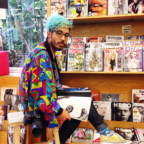 Gabriel at Bookshop Santa Cruz this morning. His colorful sense of style caught my eye!