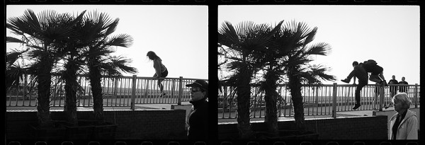 Two consecutive frames of Tri-X, shot within the time it takes to advance the film.