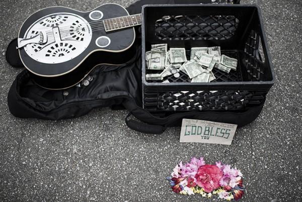 A street musician's still life.