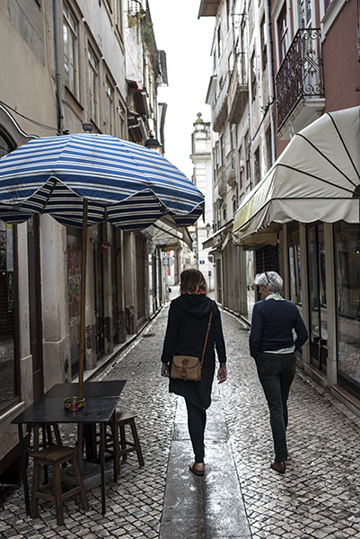 Olive and Alice explore the narrow lanes of the old town.