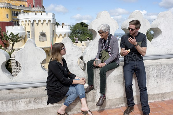 Olive, Alice and Cooper discussing the architectural merits of Palácio Nacional da Pena.