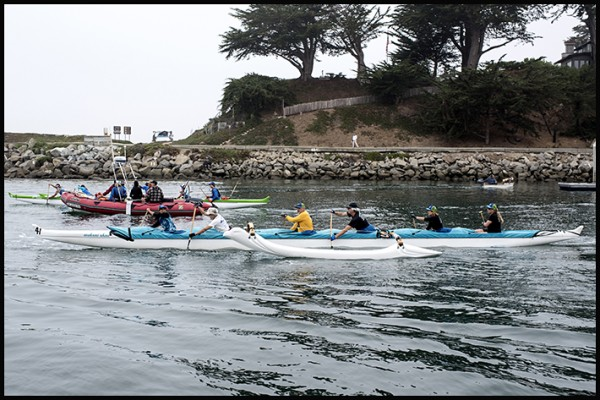 Yesterday Alice, with a crew from Outrigger Santa Cruz, paddled across the Monterey Bay. Here they are leaving the Santa Cruz Harbor.