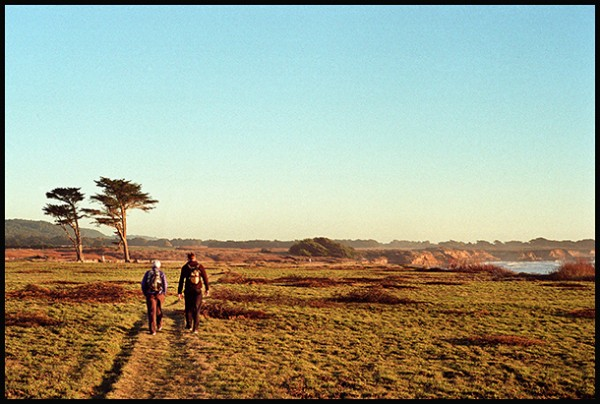 Cooper and Alice walk the Atkinson Bluff Trail, north of Año Nuevo late yesterday afternoon.