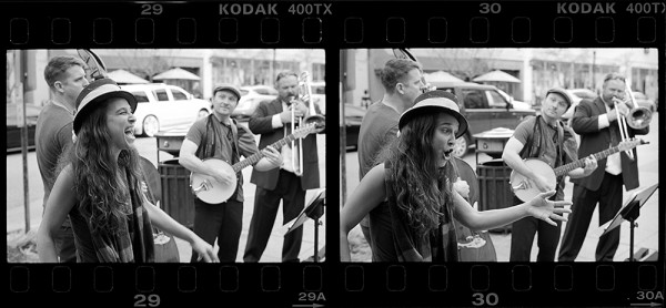 Skwee Love, busking on Pacific Avenue last Saturday afternoon. A lively group with a great old timey sound!