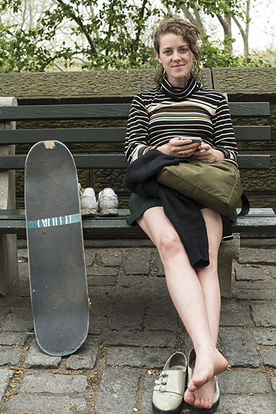When I passed by her skateboard and relaxed pose caught my eye.