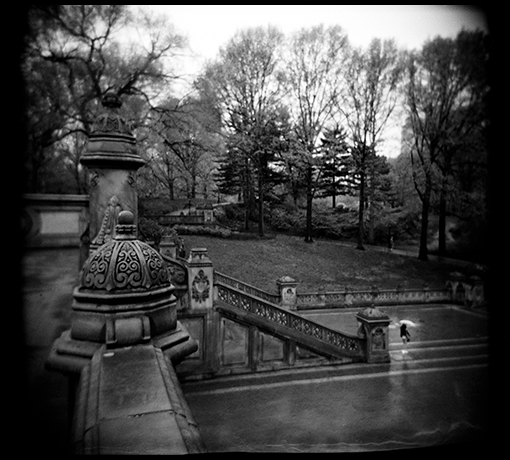 It was a warm, rainy morning in Central Park. I was out wandering. It was early and there weren't many people about. Perfect conditions for the Holga!