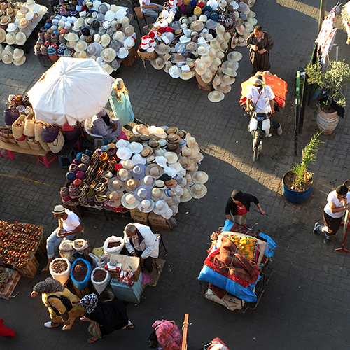 Marrakesh market from above.