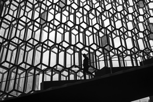 This was taken inside the Harpa Concert Hall in Reykjavik. Amazing architecture!