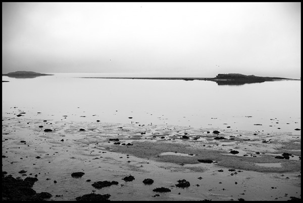 Evening, low tide, fog hovering, we could hear waves breaking on the sand bars beyond the harbor. It felt so special, so different. Maybe because it was Iceland???