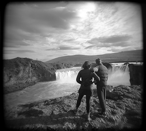I carried a couple of Holgas on the trip. Olive and Cooper at Godafoss. this photo is 100% analog.